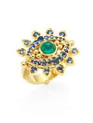 Temple St. Clair Evil Eye Lash Diamond Blue Sapphire Emerald And 18K Yellow Gold Ring Gold Multi