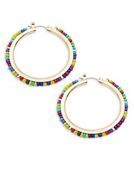 Design Lab Lord And Taylor Beaded Hoop Earrings 1.5 In No Color