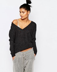 Micha Lounge Knitted V Neck Jumper Charcoal Grey