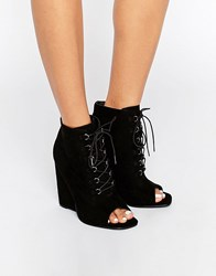 Asos Elis Lace Up Wedge Boots Black