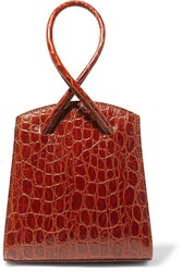 Little Liffner Twisted Mini Croc Effect Leather Tote Red