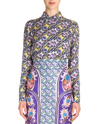 Mary Katrantzou Abstract Houndstooth Print Silk Shirt