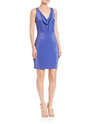 Bcbgmaxazria Orielle Metallic Cowlneck Dress Royal Blue