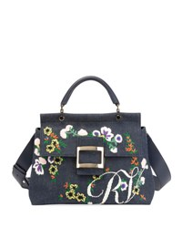 Roger Vivier Viv Flower Cabas Satchel Bag Multi