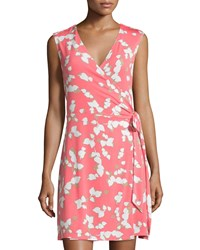 Laundry By Shelli Segal Floral Sleeveless Wrap Dress Calypso Coral