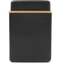 The Row Leather And Gold Tone Cardholder Black
