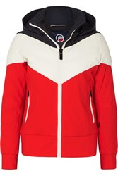 Fusalp Lia Hooded Color Block Quilted Padded Ski Jacket Red