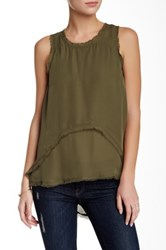 Madison Marcus Frayed Edge Hi Lo Silk Tank Green