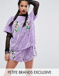 Jaded London Petite Velvet T Shirt With Bee Embroidery Lilac Purple