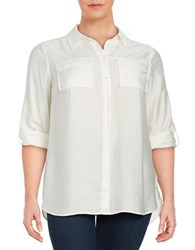 Vince Camuto Plus Textured Button Front Shirt Natural