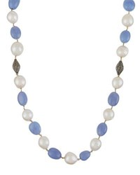 Bavna Freshwater Pearl Chalcedony And Champagne Diamond Rope Necklace