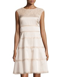 Kay Unger New York Cap Sleeve Embellished Yoke Cocktail Dress Blush