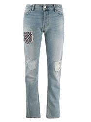 Emporio Armani Ripped Patch Jeans Blue