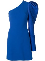 David Koma One Shoulder Gigot Dress Blue