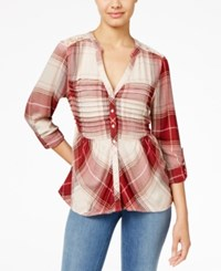 American Rag Plaid Lace Back Shirt Only At Macy's White Combo