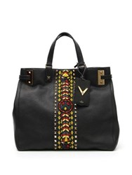 Valentino Jamaican Themed Beaded Tote Black Multi