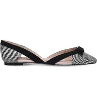 Miss Kg Nica Striped Patent Ballet Flats Blk White