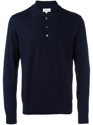 Brioni Embossed Zig Zag Polo Shirt Blue