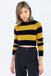 Bdg Casey Ribbed Knit Cropped Sweater Mustard