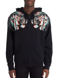 Marcelo Burlon Tajo Tiger Printed Hoodie Black Multicolor