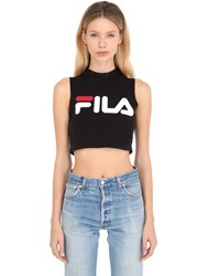 Fila Urban Logo Print Cotton Jersey Crop Top