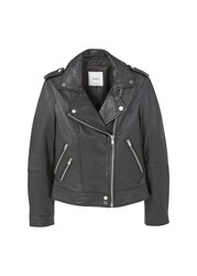 Mango Leather Biker Jacket Black