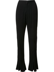 Maki Oh Crepe Bell Bottom Trousers Black