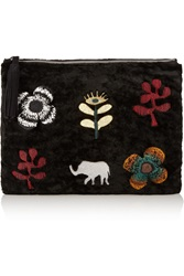Newbark Embroidered Shearling Clutch