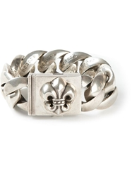 Chrome Hearts Rolo Chain Fleur De Lis Bracelet Metallic