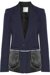 Dkny Satin Trimmed Wool Twill Blazer Midnight Blue