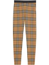 Burberry Logo Detail Vintage Check Leggings Brown