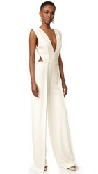 Brandon Maxwell V Neck Pleated Jumpsuit White