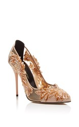 Oscar De La Renta Alyssa Embroidered Pumps Nude