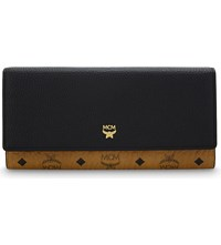 Mcm Visetos And Leather Tri Fold Wallet Black