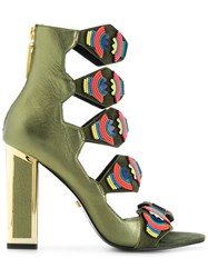 Kat Maconie Thea Beaded Sandals Green