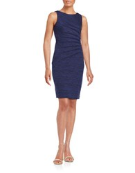 Ivanka Trump Pleated Knit Dress Navy