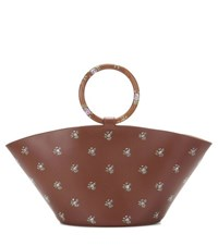 The Row Patterned Leather Tote Bag Brown