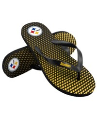 Forever Collectibles Pittsburgh Steelers High End Flip Flops Black