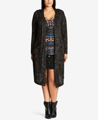 City Chic Trendy Plus Size Hooded Duster Cardigan Forest