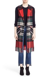 Helene Berman Women's Fringe Long Plaid Vest