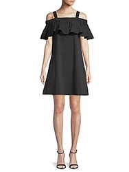 Saks Fifth Avenue Ruffle Tank Cold Shoulder Dress Black
