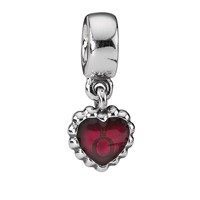 Pandora Design Sterling Silver And Red Enamel Heart Dangle Charm