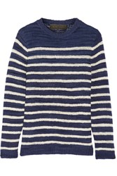 The Elder Statesman Picasso Striped Cashmere Sweater Navy