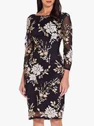Adrianna Papell Floral Embellished Dress Black Multi