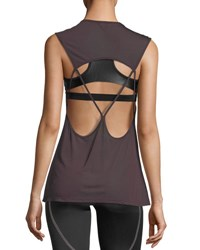 Koral Aura Strappy Back Performance Tank Dark Red