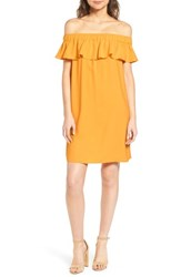 Chelsea 28 Chelsea28 Off The Shoulder Crepe Dress Yellow Rod