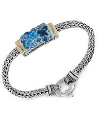 Effy Collection Ocean Bleu By Effy Blue Topaz Bracelet 4 9 10 Ct. T.W. In Sterling Silver And 18K Gold