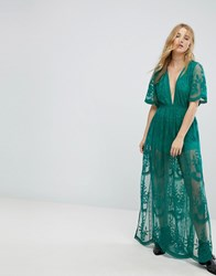 Honey Punch Maxi Dress In Premium Lace With Kimono Sleeves Green