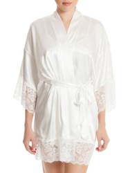 In Bloom The Bride Satin And Lace Wrapper Robe Ivory