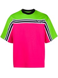 Gcds Crew Neck Block Color T Shirt Pink